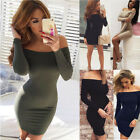 Women's Off-Shoulder Long Sleeve Bodycon Party Evening Cocktail Short Dress USA
