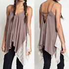 Women Sleeveless Strappy Backless Lace Patchwork Hem Cami Top