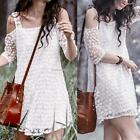 New Lady Women's Sexy White Off the Shoulder Embroidered Lace Dress B20E