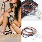 Women Fashion Braided Synthetic Leather Anklet Ankle Bracelet Beach EN24H