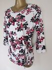 NEW Ex Chainstore Floral Print Tie Side Top Ivory Pink Red Black Size 8-20UK