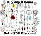 Belly Bars Crystal Dangly Belly Bar Reverse Dangle Rings Top Drop Navel Bars NEW