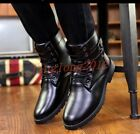 New Stylish Mens Military Motorcycle Ankle Boots Pu Leatehr Lace Up Winter Shoes
