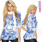 Sexy Printed European Top Scarf Floral Blouse Shirt Jumper Size 10 12 14 M L XL