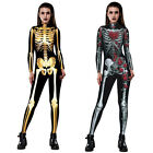 Halloween Skeleton Jumpsuit Catsuit Costume Women Punk Skull Romper Fancy Dress