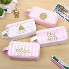 Canvas Pencil Case Capacity Box Pouch Makeup Cosmetic Bag Student 4Types