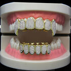 14K Gold Plated High Quality CZ Fang Top & Bottom GRILLZ Mouth Teeth Hip Hop