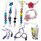 Infant Baby Silicone Pacifier Holder Clip Chain Dummy Nipple Bead Teether Straps