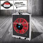 "2-Row/Core High Capacity Radiator+9"" Red Cool Fan For Civic/Del Sol/IntegraDC MT"