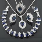 FAHOYO Blue Sapphire CZ 925 Sterling Silver Jewelry Sets For Women QS0232