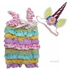 Baby Pastal Pink Stripes Lace Satin Rompers & Unicorn Headband Costume