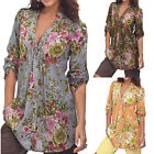 Clothing plus womens - Lady Shirt Tops Vintage Floral Print V-neck Tunic Tops Plus Size Blouse Tops