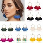Women Vintage Boho Fan-shaped Tassel Fringe Big Circle Dangle Earrings Jewellery