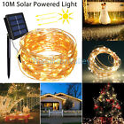 100LED 10M Outdoor Solar Powered String Light Warm White Garden Party Fairy Lamp