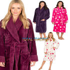 WOMENS LADIES FLEECE WINTER DRESSING GOWNS SHAWL COLLAR