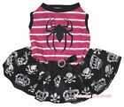 Spider Halloween Pink Striped Top Skull Crown Tutu Pet Dog Dress Puppy Clothes