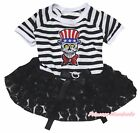 USA Skeleton Halloween Striped Top Black Rose Tutu Pet Dog Dress Puppy Clothes