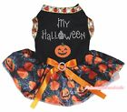 Black Top MY Halloween Pumpkin Spider Web Tutu Pet Cat Dog Dress Puppy Clothes