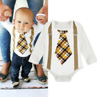 Newborn Toddler Baby Boy Gentleman Jumpsuit Romper Bodysuit Outfits Clothes UK