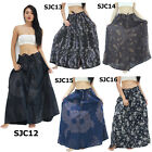 Skirt SJC 100% Cotton Unique Button-Up Long Peasant Boho Gypsy Casual Thailand