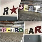 "12"" COLOURED LETTERS metal rustic shop sign lettering home retro vintage"