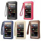 """PU Leather Touch Screen Pouch Purse+Shoulder Strap for Various 3.5""""~6.3""""Phone"""