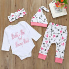 4pcs Set Newborn Baby Girls Tops Long Sleeve Romper+Pants Hat Outfits Clothes US