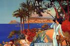 ANTIBES France Lady Dog Cote Azur French Riviera Vintage Poster FREE SHIP in USA