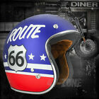 Torc Route 66 T50 Flat Royal Blue 3/4 Open Face Motorcycle Scooter Bike Helmet <br/> Street DOT ECE Approved &amp; Certified