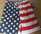 NWT AMERICAN FLAG USA Patriotic Swim Board Short Trunks Mens size Small July 4th