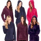 Ladies Womens Snuggle Fleece Bed Jacket Lounge Top House Coat  HOOD / COLLAR