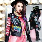 Casual Women Multicolor Punk Leather Jacket Graffiti Street Fashion Motorcycle