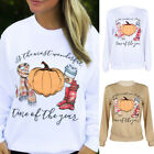 Women Blouse Halloween Pumpkin Print Long Sleeve Sweatshirt Pullover Tops Shirt