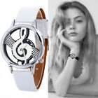Lady Men Stainless Steel Watch Musical Note Paint Leather Bracelet Wrist Watch