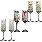 Wedding Anniversary Champagne Flutes Gift Set Silver 25th Ruby 40th Golden 50th