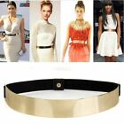 Womens Ladies Metal Waist Mirror Wide Gold Silver Plate Elastic Waistband Belt