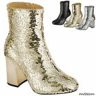 New Women High Fashion Sexy Glitter Sequin Boots Block Chunky Heels Booties