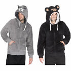 Mens Hooded Fleece Snuggle Top Bed Jacket Fun Novelty Animal Designs With Zip