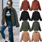 UK Womens Winter Warm Hooded Fluffy Coat Ladies Fleece Fur Jacket Outerwear Tops