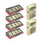 Set of 4 Wind Proof Oil Petrol Lighters - Gold Colour Casing and Flip Lid