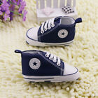 NEW Infant Toddler Baby Soft Sole Crib Shoes Sneaker Newborn Navy 0-18months