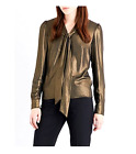 Karen Millen HZ025 Metallic Tie Bow Smart Shirt Dress Office Blouse Top 6 - 16