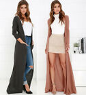 S-3X Women's Long Flowy Cardigan Duster Sweater Open Front Long Sleeve Maxi Top