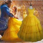 Princess Belle Costume Beauty And The Beast Cosplay Adult Women Fancy Dress S-XL