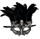 Skull Red Crystal Eyes Gold Feather Masquerade Prom Mask