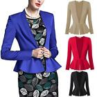 Women Open Front Slim Business Blazer Suit Tunic Fishtail Hem Jacket Coat Top LD