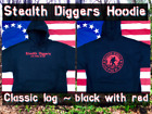 Stealth diggers Hoodie black with red classic logo Metal Detecting NH LFOD SDN