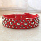 1.4 inch Wide Red Leather Mushroom Studded Pet Dog Collar M Dog Pitbull Terrier