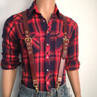 LEATHER SUSPENDERS BRACES Brown  Brass Cowhide Biker Hand Crafted U.S. 5 sizes