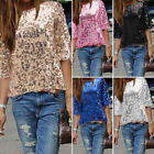 Fashion Womens Sequined Bling Shiny Tank Top Short Sleeve Casual T Shirt Blouse